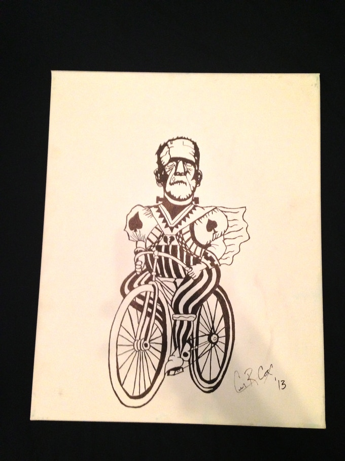 This is a joker-frank sketch in sharpie I did a month before ever thinking about making a deck. I was working on doing as many FRANK paintings as I could. :) ( this joker did not make it into the deck, sorry :)