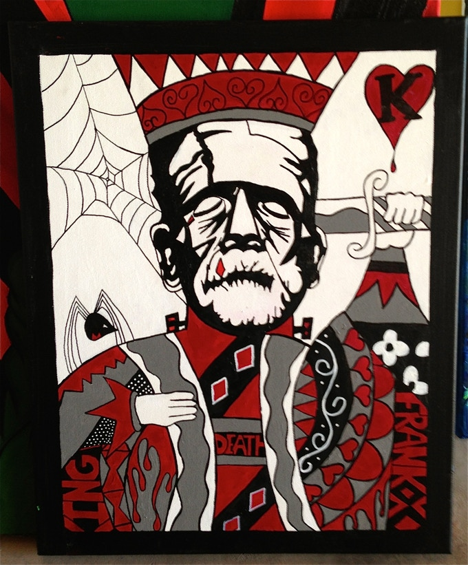 This was another frank I did AFTER the joker-frank, and this is when I thought WOW I wonder if its possible to paint a deck and have it printed out? After a month of researching Bicycle, kick starter and talking with a lot of people we started our journey