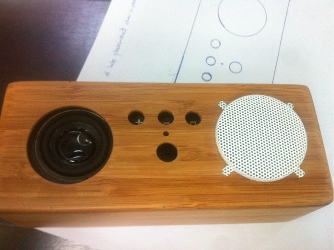 Exploring speaker grill options on an early prototype
