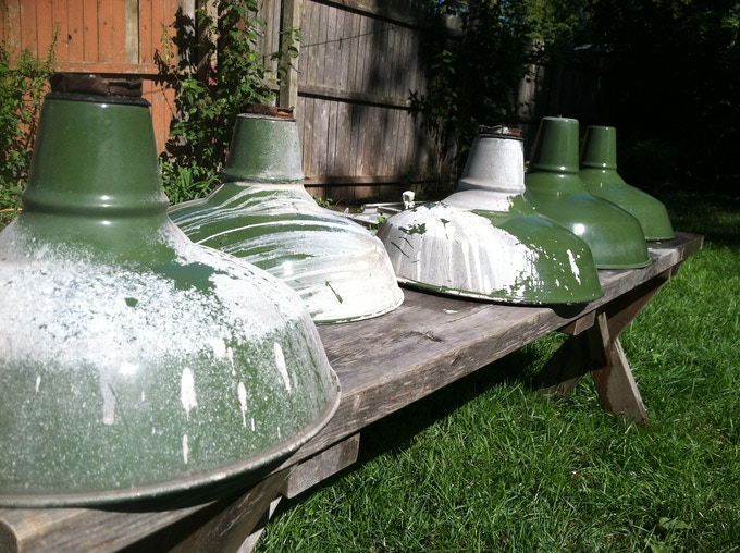 Lamps ready for to be restored with Conant Metal & Light