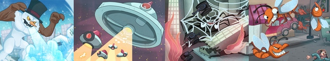 Snowman, Space Invaders, Spider, Swarm