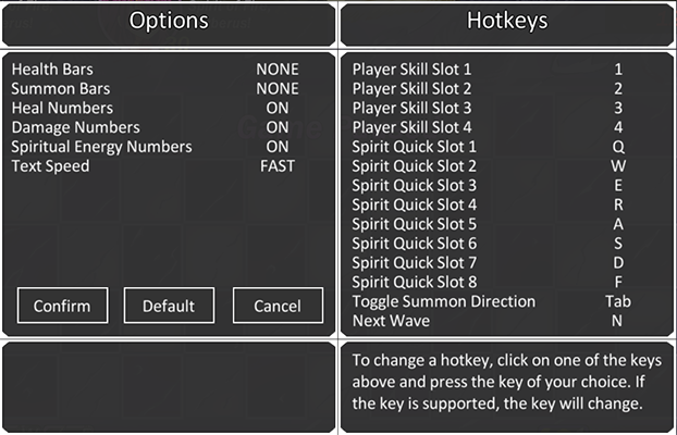 Sample of options (WIP) *P.S* Toggle Summon Direction has been removed from the game.
