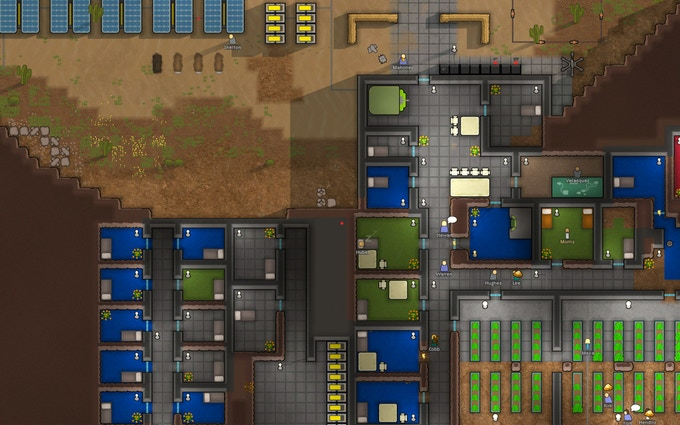 A developed underground colony with a large hydroponic grow-op.