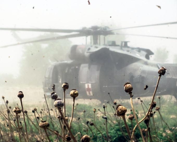 Casualty evacuation in a poppy field.
