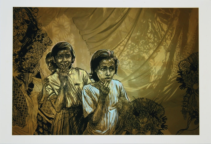 """$500.00 Reward: An original signed work by Swoon, Sambhavna Girls: An archival inkjet print on cotton rag with hand painting. Signed edition of 25. 19"""" x 13"""""""