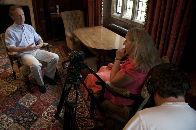 Stephen Lawrence, CEO, being interviewed in Chawton House Library