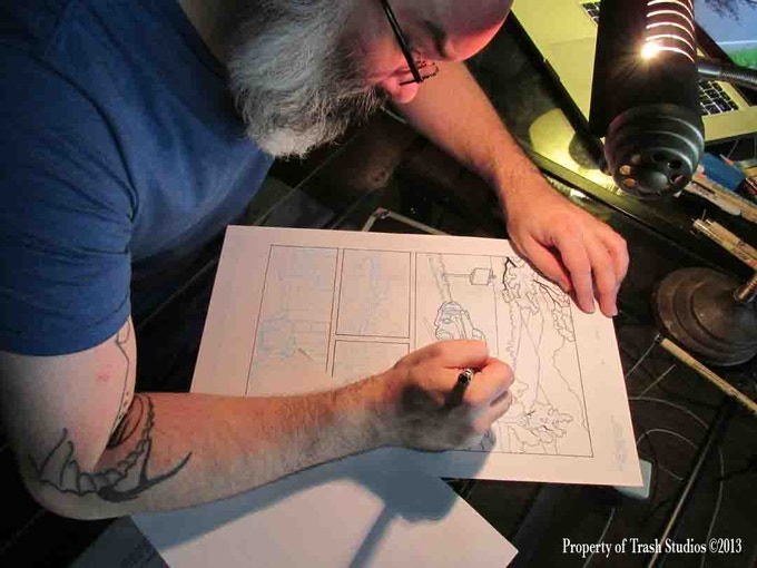 Artist Fritz Striker working on Lovecraft P.I.