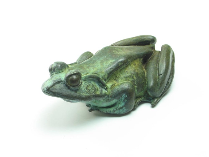Bronze frog with aged green patina - soon to be a bottle opener