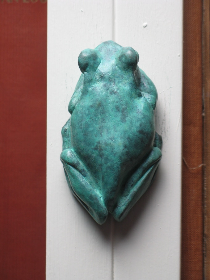 Wall-hanging bronze tree frog - soon to be a bottle opener