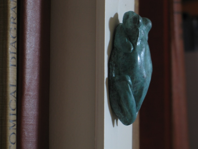 Bronze tree-frog bottle-opener prototype hanging out by my art books
