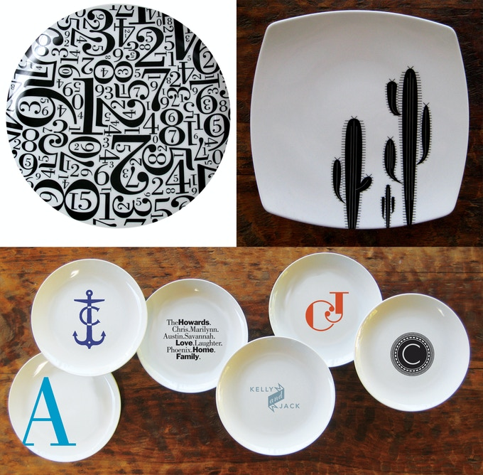 BRAND NEW! Above: Top left, Number dinner platter, upper right, saguaro plate, and below, a  small variety of custom design options. Many more to choose from.