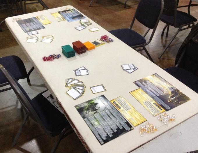 Two side-by-side games of Allegiance set up and ready to play