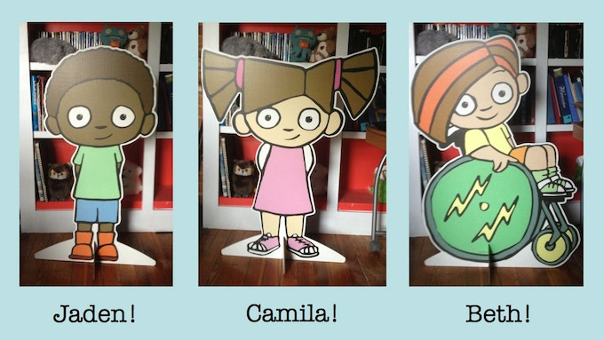 Adorable life-size cutouts of the stars of Camila's Lemonade Stand!