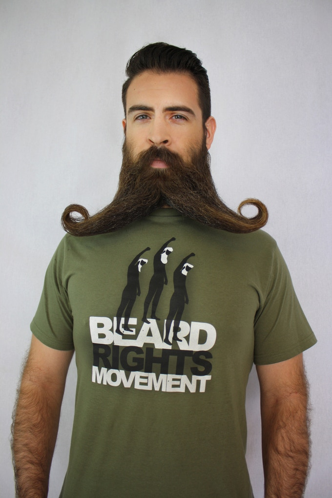 Beard Rights Movement graphic on a military green tee.