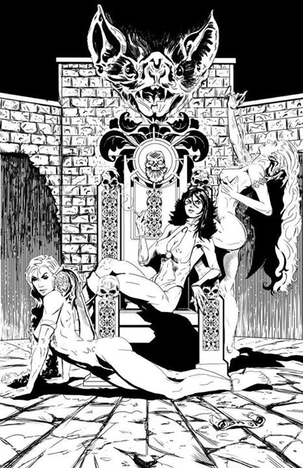 The Vampire Queen on her throne with her two Succubus lieutenants...