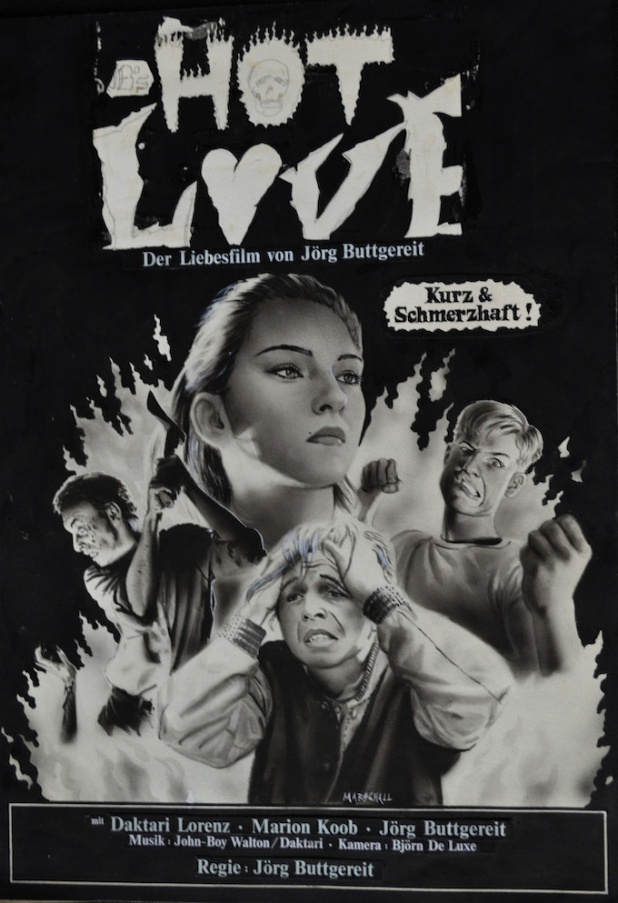 """Original Artwork by Andreas Marschall of """"HOT LOVE"""" a film by Jörg Buttgereit (11.6 x 16.5 inches, airbrush acrylic black and white on paper, text collage, 1985) - $5,000"""