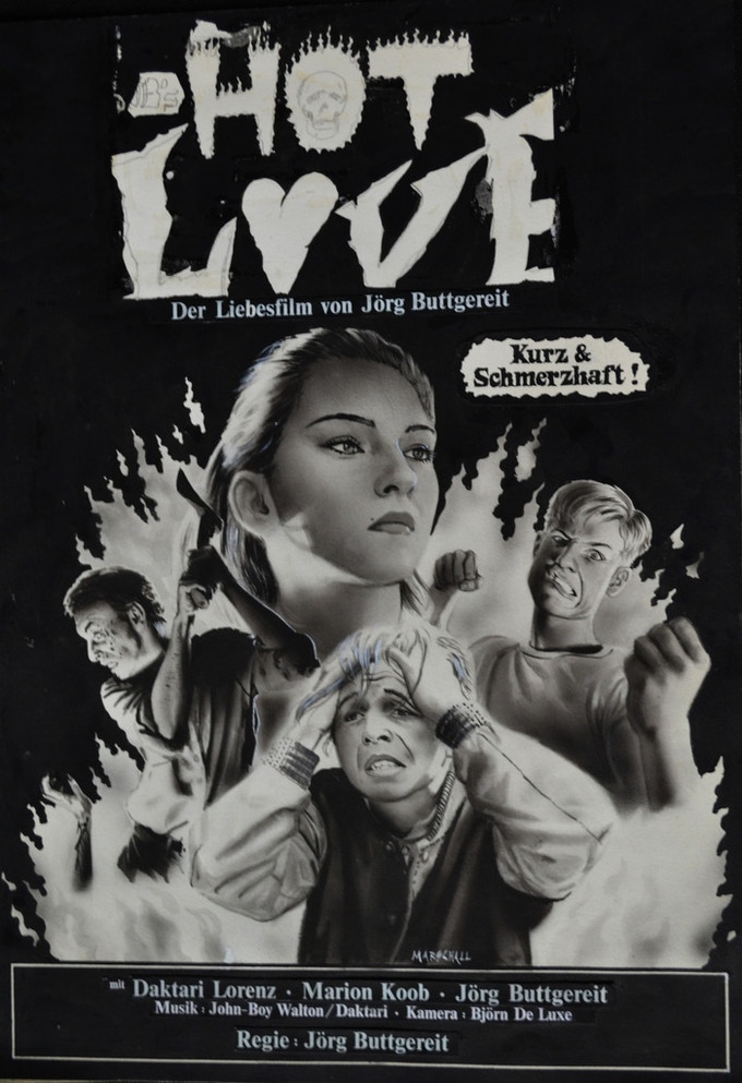 "Original Artwork by Andreas Marschall of ""HOT LOVE"" a film by Jörg Buttgereit (11.6 x 16.5 inches, airbrush acrylic black and white on paper, text collage, 1985) - $5,000"