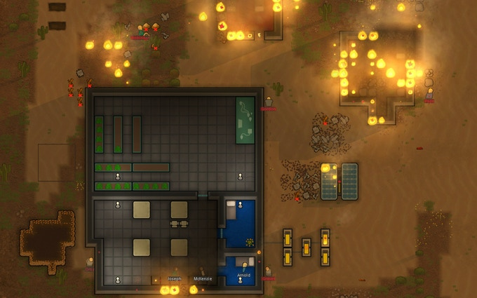Raiders burn out some walled-in colonists.