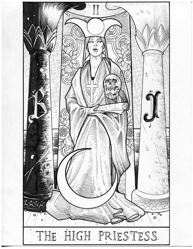 Arcana: The High Priestess Letterpress Tarot Card By Andy