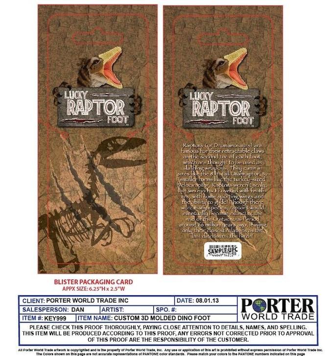 Prototype artwork for the blister card packaging.