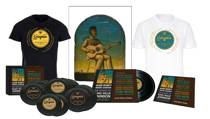 L to R: Limited  box set, Columbia Label t-shirt with artist names, Art Print, Double 180-gram gatefold LP, and CD.