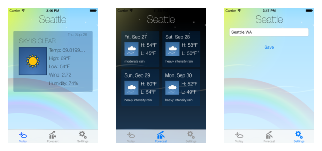 Screen shots from one of our apps, Pocket Weather