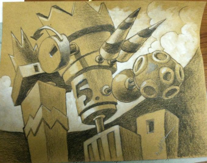 Concept art for Armikrog. Pencil and acrylic on cardboard.