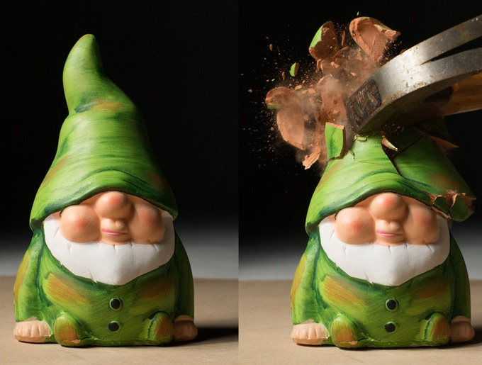 Before / After... Photo taken using the high-speed sound trigger on Triggertrap Ada. Poor gnome.