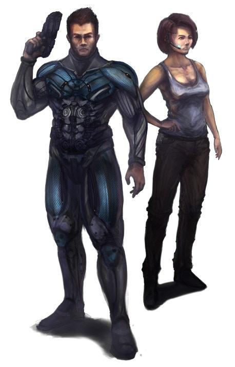 The main character Dravis and Sara.