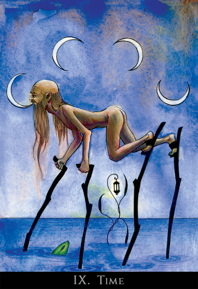 Otherwise known as the Hermit, and no longer an aged cripple in this deck, old Time is an acrobat, able to move delicately across the earth without disturbing a thing on it, inscribing the procession of the moon across the sky with each breath he takes.