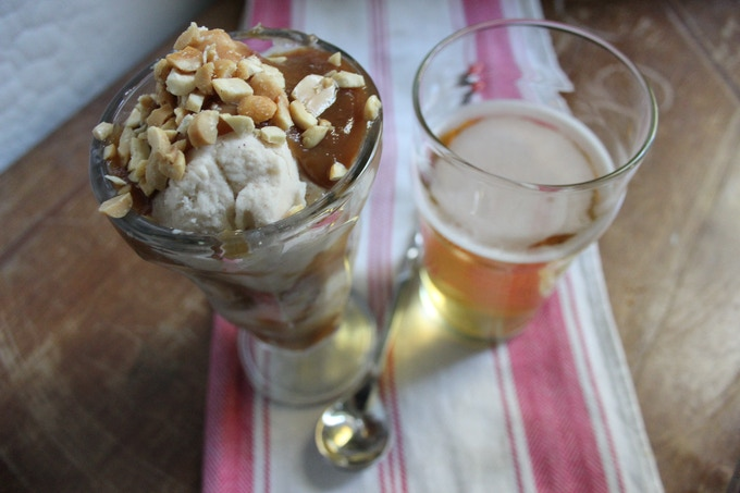 Pairing a Peanut Butter Sundae with a High Life is A-OK!