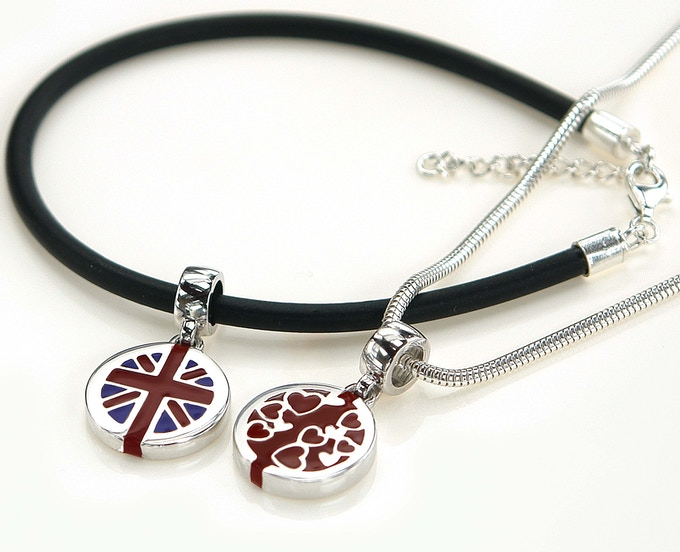 Our flat disc's can fit on most popular bracelets or necklaces.