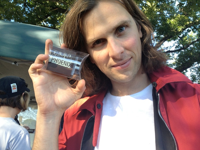 Deck d'Arcy of the band Phoenix and one of our chocolates