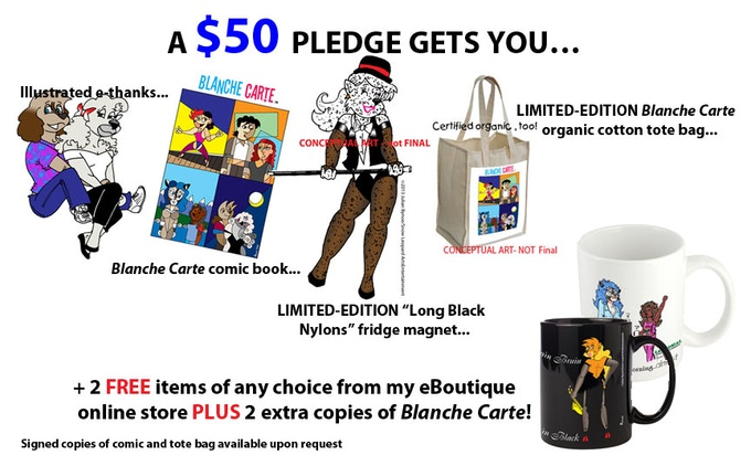 For eBoutique link, please click here. And with this donation tier, your name will listed on the thank-you list in the back page of the comic and on the Blanche Carte blog page!