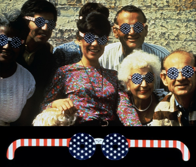 Sussman and the Eames Office wearing 4th of July Glasses by Sussman (cir. 1965)