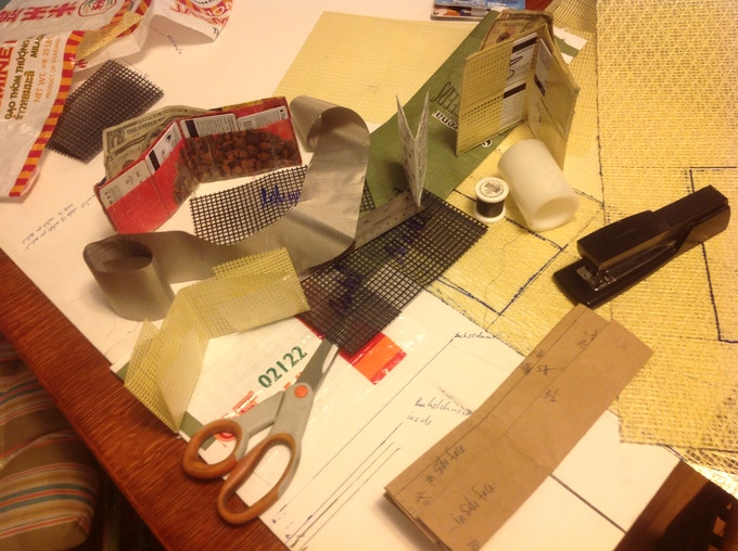 Early Material included Tape, Staples, dog food bags.