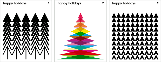 3 holiday greetings e-cards. Each 500px wide x 600px high.