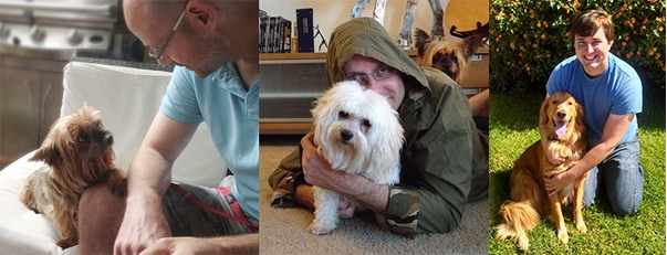 Oz with Freedom and Bailey, and Patrick with Asta.