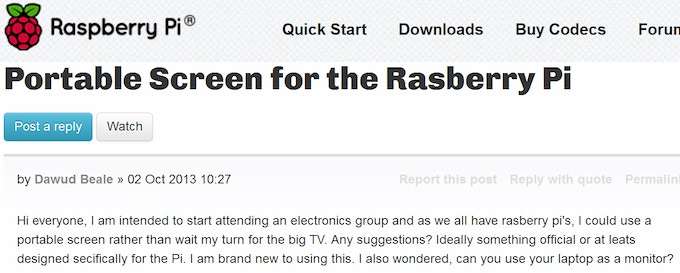 A recent post on the Raspberry Pi forums
