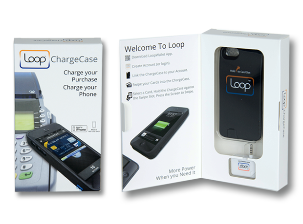 Loop ChargeCase Packaging Front  & Inside Showing Quick Start Guide