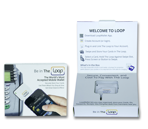 Loop FOB Packaging Front  & Inside Showing Quick Start Guide