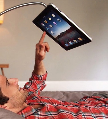 hanfree ipad accessory use the ipad hands free by kickstarter. Black Bedroom Furniture Sets. Home Design Ideas