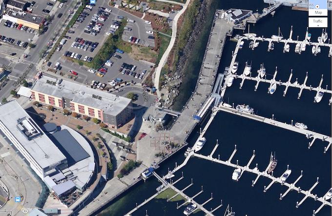 Shows boardwalk and Kitsap Conference Center on bottom left