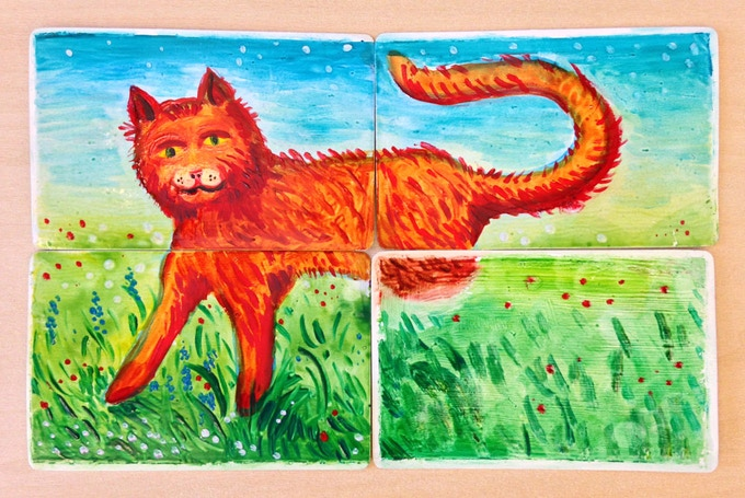 On another card contains a hastily painted attempt to represent a half-cat. We suspect that any mention of half-cats –during his institutionalization– would have prolonged his stay. Painted in secret to ease the soul.