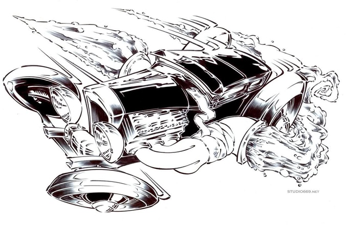 Hot Rod Illustration #101, Drawing AUTOS WITH MOTIVE! by