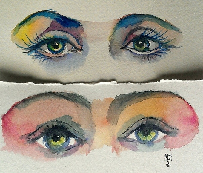 $100.00 reward: one small watercolor of your eyes on french watercolor paper with torn edges.