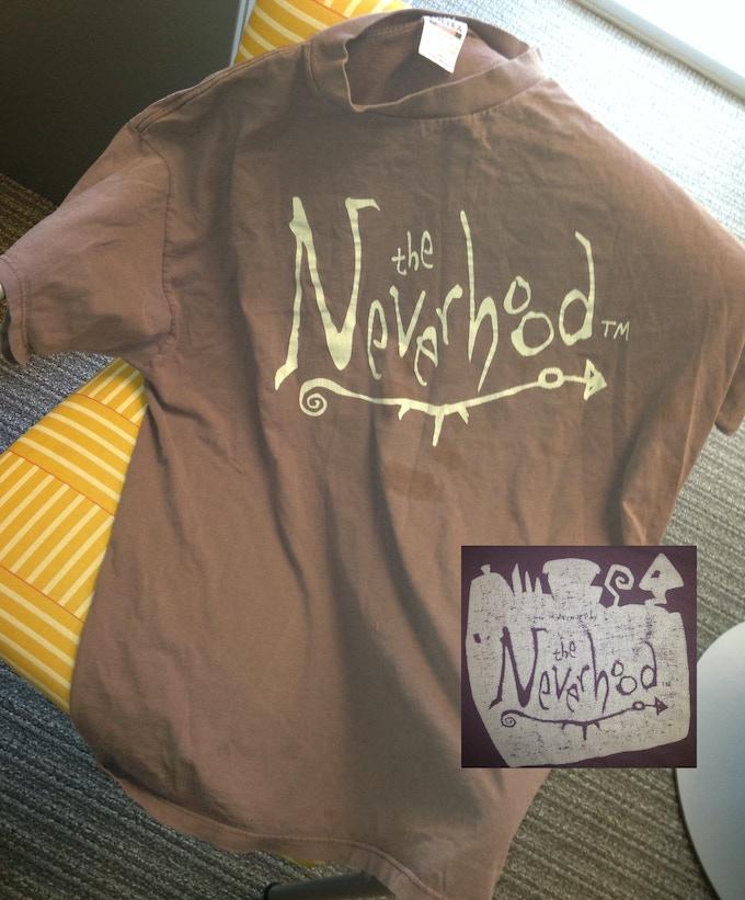 Neverhood Shirt, front logo and back tag logo.