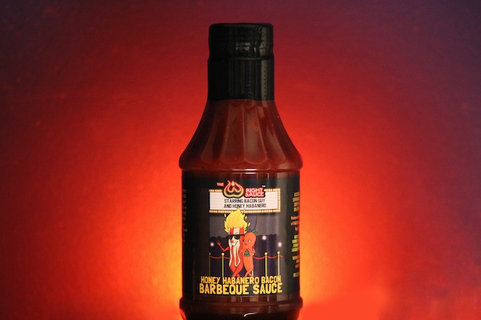Honey Habanero Bacon (medium) Tomato based BBQ sauce made with delicious habanero peppers, locally sourced honey and bacon.