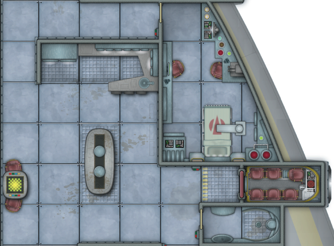 The maps are equipped with locations that can be repurposed. The Albatross's medical bay could be a science lab, an interrogation chamber, pleasurebot storage, or a even food preparation area with some serious firepower.