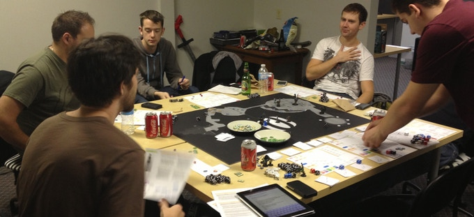 Flying Helmet Games team & friends playtest with boardgame prototypes! Fall 2012